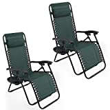 ARKSEN© 2-Pack Zero Gravity Chairs Patio Lounge +Cup Holder/Utility Tray (Green)