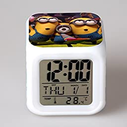 Boxlink  Cartoon Minion Despicable Me Toys LED Digital Alarm Clock 7 Colors Change Nightlight Thermometer Glowing Toys with Box Watches