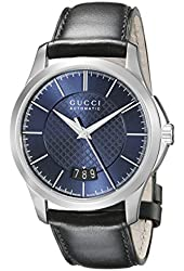 Gucci Men's YA126443 G-Timeless Stainless Steel Watch with Black Leather Band