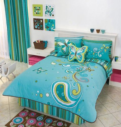 Magic Aqua Butterfly Comforter Bedding Set Twin 7 Pcs