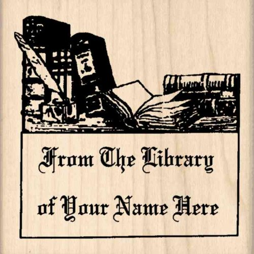 Custom Made & Personalized - From The Library Of: Bookplate Rubber Stamp - 2-1/2 inches x 2-1/2 inches (Custom Bookplates compare prices)