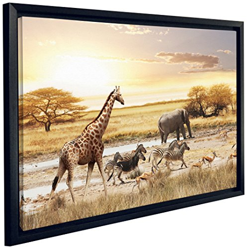 Jp london fcnv2209 framed gallery wrap heavyweight sunset for African sunset wall mural