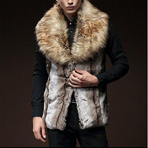 ZQQ collare inverno Slim finta pelliccia del coniglio del rex della pelliccia pelliccia di procione uomo Nagymaros giubbotto cappotto di spessore , wolf hair color , m