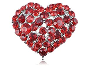 Swarovski Crystal Elements Ruby Blood Red Crushed Bleeding Love Heart Pin Brooch