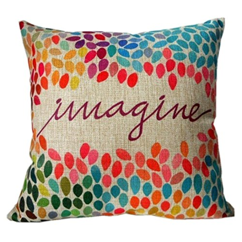 Amlaiworld Cassa del cuscino,Immaginate di cotone lino Piazza Decor Throw Pillow cuscino caso coperchio colorato