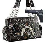 Black Camo Fashion Double Pistol Conceal and Carry Purse
