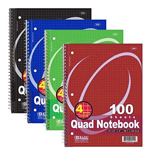 (2 Pack) - BAZIC Quad-Ruled Spiral Notebook 100 Count, Assorted colors (10 1/2 inches x 8 inches) (Spiral Quad Ruled compare prices)