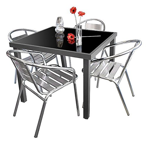 5tlg. Gartengarnitur Alu Glastisch 90x90cm mit schwarzer undurchsichtiger Tischglasplatte + 4x Stapelstuhl Aluminium Silber - Gartenmöbel Set