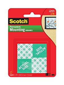 Scotch Permanent Mounting Squares (16 Squares per Pack), 25.4mm x 25.4mm