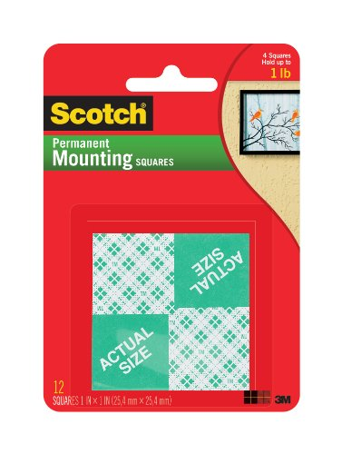 Scotch Permanent Mounting Squares, 1 X 1 Inch (111-24)