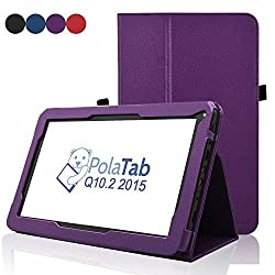 PolaTab Q10.1 / Elite Q10.1 / Elite Q10.2 10.1 Inch Case - ACdream Folio Premium PU Leather Cover Case for PolaTab Q10.1 8X 10.1-Inch 16GB Octo Core CPU Android Tablet, Dark Purple