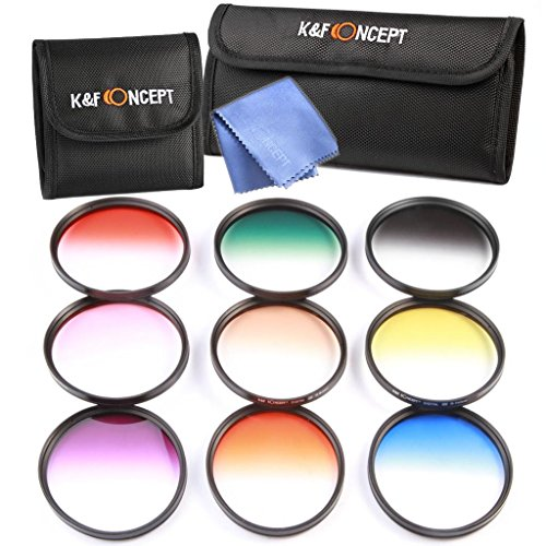 K&F Concept 9pcs 52mm Graduated Color Filter Set Kit Orange Blue Grey(ND4) Red Purple Green Pink Brown Yellow Lens Filter Kit for NIKON D7100 D7000 D5200 D5100 D5000 D3300 D3200 D3100 D3000 18-55MM Lens DSLR Cameras + Lens Cleaning Cloth + Filter Bag Pouch