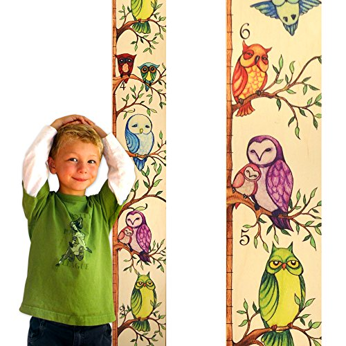 Owl Wooden Ruler Growth Chart | Kids Height Chart for Boys & Girls (With Inches)