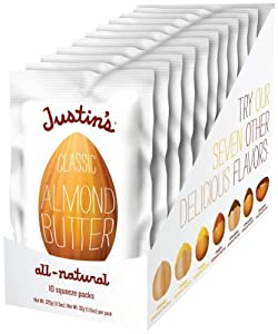 Justin's Nut Butter Natural Classic Almond Butter 10 Count Squeeze Packs, 11.5-Ounce Boxes (Pack of 3)