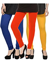 Kjaggs Women's Cotton Lycra Regular Fit Leggings Combo - Pack Of 3 (KTL-TP-13-14-5, Orange, Royal Blue, Dark Yellow)