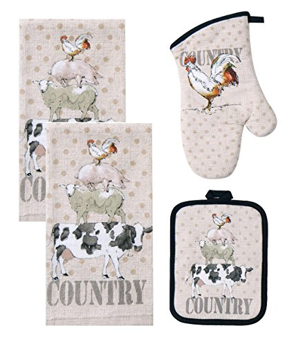 4 Piece Farm Life Kitchen Bundle / Set - 2 Terry Towels, Oven Mitt, Potholder (Cow Pot Holders And Oven Mitts compare prices)