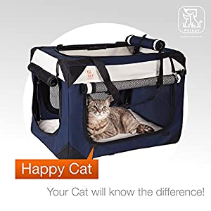 "Soothing ""Happy Cat"" Soft Carrier w/ Comfy Plush Sleep Pillow - 4X Interior Space - Breezy Windows & Sunroof - Collapse & Folds, Locking Zippers, Lightweight, Stylish & Washable, Reduces Anxiety"