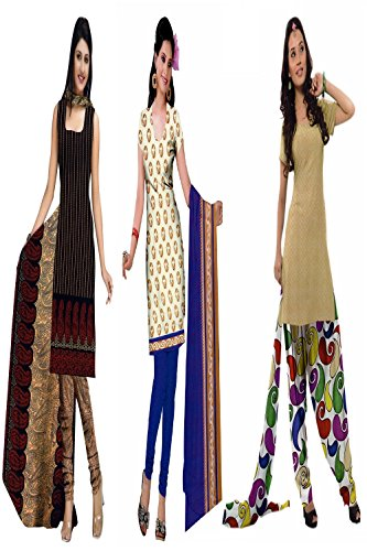 Araham soft crepe / American crepe dress material / unstitched Salwar Suit pack of 3 combo No 603