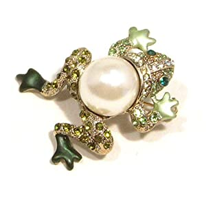 Green Austrian Rhinestone Faux Pearl Frog Gold Plated Brooch Pin
