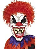 Smiffys Mens Scary Clown Mask Foam Latex with Hair On Display Card, Multi, One Size