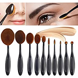 Professional 11 Pcs Soft Oval Makeup Brush Sets Foundation Brushes Cream Contour Powder Blush With Cleaning Brush Egg Comenzar