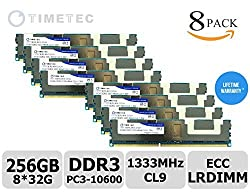 Timetec (Hynix IC H5TC8G43AMR-PBA) 1333MHz DDR3L PC3L-10600 ECC Registered 1.35V 240-Pin LRDIMM Load Reduced DIMM CL9 Quad 4 Rank 4Rx4 1024x4 In-Line Server Memory Module Upgrade (256GB Kit (8*32GB))