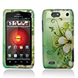 Motorola Droid 4 Droid4 xt894 Accessory-Baby Green Flower and Butterflies Design Protective Hard Case Cover for Verizon+Screen/Lens Cleaning Cloth