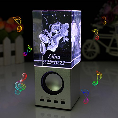LIWUYOU Personalized Custom Engraved Your Text Crystal 3D Constellation of Libra Colorful LED Light Portable Speaker, Libra