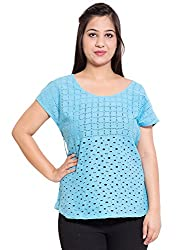 KASHANA Pure Cotton Siffily Pattern Sky Blue Cap Sleeve Plus Size Women Ladies Casual Top