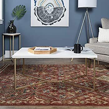 WE Furniture AZF42LUXWMG Coffee Table Faux White Marble/Gold