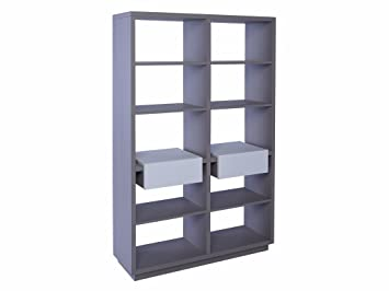 Designer Matt Stone Grey Bookcase Shelving Unit with Twin Drawers - Marlow STONE With WHITE Accent