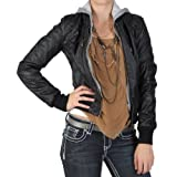 Hailey Jeans Co Juniors Zippered Faux Leather Hooded Jacket
