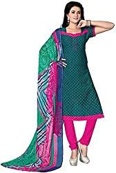 SDM Women's Crepe Printed Dress Material Unstitched (4460, Green, Free Size)