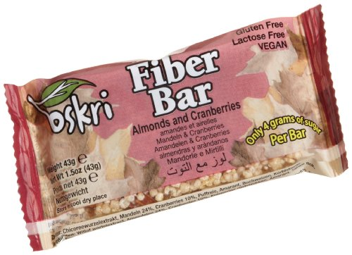 Oskri Fiber Bar, Almonds and Cranberries, Gluten Free, 1.5-Ounce Bars (Pack of 20)