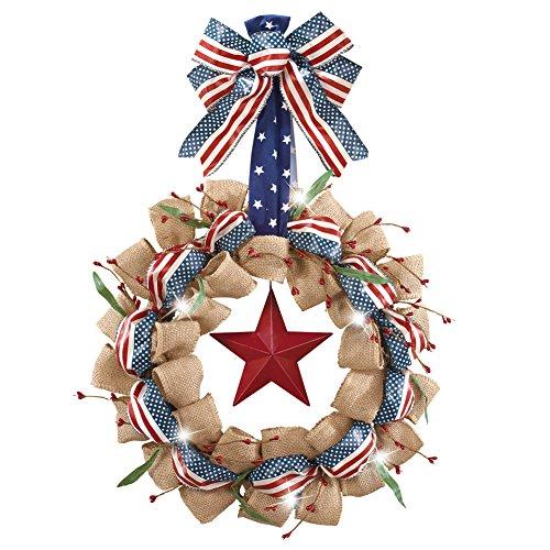 Led Lighted Patriotic Americana Burlap Wreath