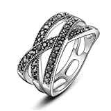 """Dnswez Vintage Triple Row Twisted Marcasite Crystal """"X"""" Criss-Cross Cocktail Rings for Women(6)"""