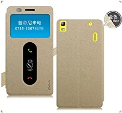 Original Pudini Goldsand Series Dual Window Flip Case Cover for Lenovo A7000 with Front Screen Guard by Case Trendz -- Gold