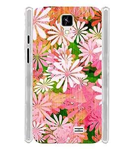Floral Pink Pattern Soft Silicon Rubberized Back Case Cover for Intex Aqua Y2 :: Intex Aqua Y2 1GB