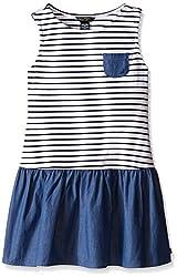 Nautica Girls' Jersey Stripe and Chambray Mix Dress, Chambray, 6X