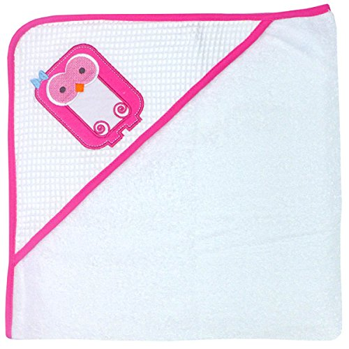 Happy Chic by Jonathan Adler Single Applique, Print Spa Waffle, Woven Terry and Interlock Hooded Towel, Pink Owl