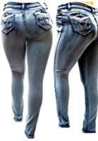 J&K MI WOMEN'S PLUS SIZE Stretch ACID WASH premium BLUE denim jeans SKINNY PANTS