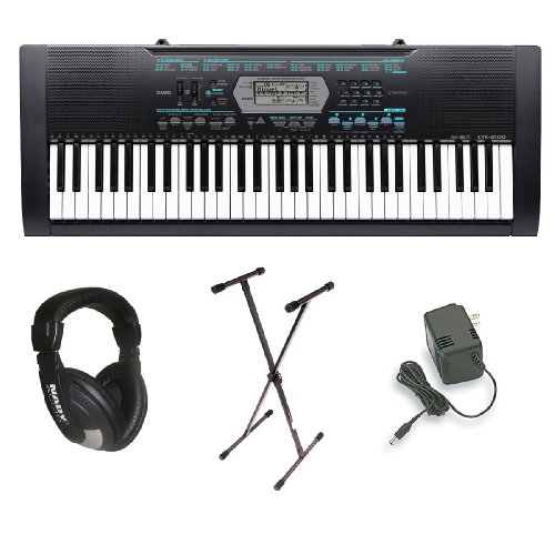 Casio CTK-2100 61-Key Portable Keyboard Package with Headphones, Stand & Power Supply