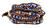Stackable Lapis Lazuli Beads on Brown PU Leather Wrap Bracelet