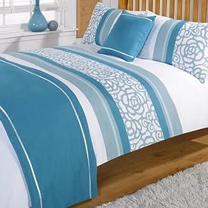Lorenza Teal King Size Duvet Quilt bedding Set Bed in Bag