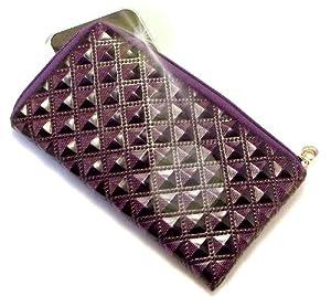 """""""Princesa"""" Púrpura Oscuro, Lujosa billetera de cuero de imitación acolchonado con cierre para Samsung F490. Auténtica Funda / Estuche con correa para transportar para teléfonos móviles."""