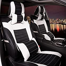 See Amooca Luxurious Airbag Compatible Universal Full Set Needlework PU leather Front Rear Car Seat Cushion Cover Black&White 10pcs Details