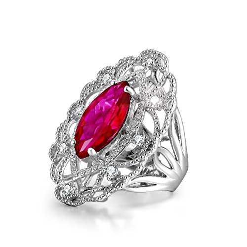 Caperci Vintage Sterling Silver Marquise Cut Fuscia Created