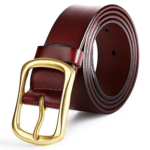 """Cintura pregiata pelle da uomo cinturino 1.5 """"vita larga moda ruotato Buckle (tagliata per misura) (marrone)"""