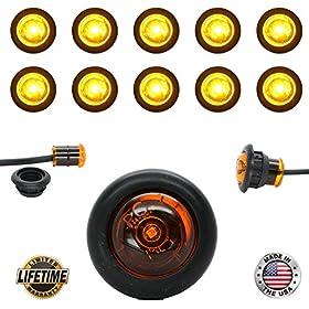 "10 USA Made 3/4"" Amber LED Clearance Marker Bullet Grommet Lights"