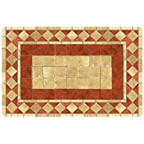 Red Tile Mosaic Kitchen Rug (Multi) (27W x 18D x 0.3H)